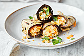 Aubergine rolls with couscous