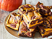 Pumpkin brownies with pecan nuts