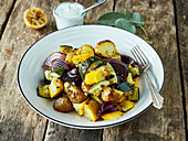 Mediterranean potatoes with lemon yoghurt dressing