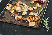 Jerusalem artichoke crisps with sea salt and rosemary