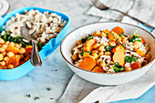 Wild rice with roasted chickpeas and carrots