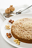 Nut cake with sesame seeds and poppy seeds