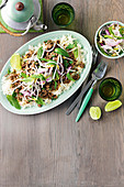 Beef, lemongrass and chilli larb with mint salad