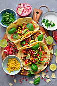 Tortilla tacos, vegetarian version