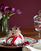 Meringue with toffee 'floss' topping, raspberries and raspberry sauce