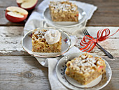 Three pieces of apple crumble cake