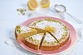 Lemon polenta cake with pistachios (vegan)
