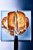 Croque Monsieur, sliced (top view)