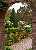 Blick durch Torbogen in formalen Garten mit Frühlingsblumen