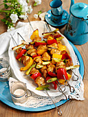 Turkey and vegetable kebabs with a soy and honey glaze