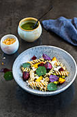 Pasta salad with beets and feta