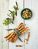 Breadsticks and olives