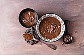 Chocolate pudding with cocoa powder and cocoa nibs