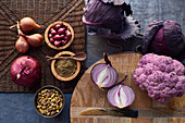 Various purple vegetables