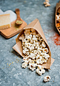 Popcorn with oregano and parmesan cheese