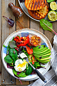Fit salad with egg and avocado