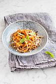 Spaghetti with tempeh ragout