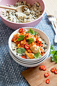 Chicken curry with chillis on wild rice