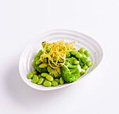Soy and lemon edamame with broccoli