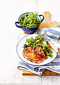 Italian fennel and chilli pork chops with rocket salad