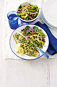 Grilled lemon and dill fish with red quinoa salad