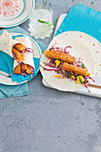Fish finger and slaw burritos
