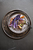 Fried red cabbage with shallots, Beluga lentils and dill