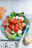 Parma ham with strawberry salad