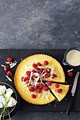White chocolate custard tart with raspberries