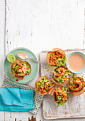 Barbecued prawn and corn tortilla cups