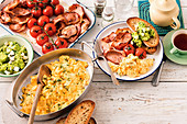 Oven-baked buttery scrambled eggs with smashed avocado