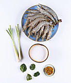 Ingredients for oriental style prawns