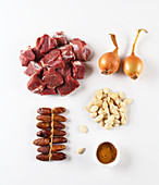 Ingredients for a date and lamb tagine
