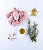 Ingredients for braised rosemary rabbit