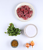 Ingredients for lamb curry with coriander