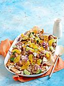 Chicken meatball and pita salad