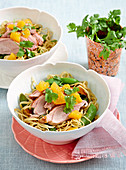 Duck and orange noodles