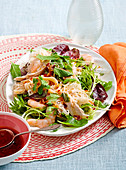 Barbecued chicken and prawn salad