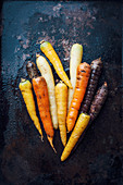 Different coloured carrots
