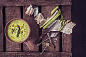 Asparagus Soup: Fresh Asparagus, Dill, Garlic, Chilli Flakes, garlic, mustard seeds, cream, olive oil, shallots, black pepper
