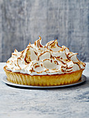 A whole rhubarb and meringue pie