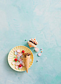 'Surprise inside' jaffa merngue cones