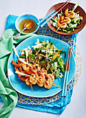 Prawn Kebabs with asian greens