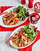 Wurst-Kartoffel-Auflauf mit Zwiebeln
