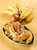 Fried bananas with onions