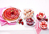 Strawberry Tart, Strawberry Rosewater Meringue with Compote, Strawberry Marshmallow Mousse