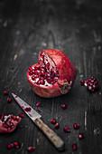 A sliced pomegranate