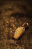 Mustard seeds on a small wooden scoop