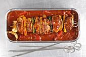 Shashlik kebab in paprika sauce