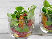 Lambs lettuce with blood oranges and pomegranate seeds